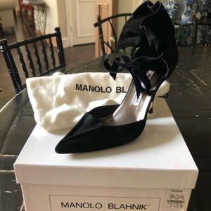 Black suede Manolo Blahnik heels